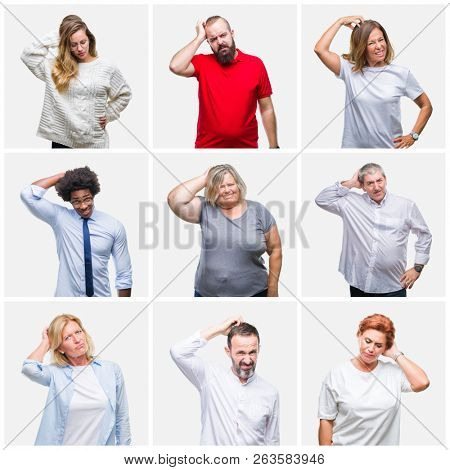 Collage of group of young, middle age and senior people over isolated background confuse and wonder about question. Uncertain with doubt, thinking with hand on head. Pensive concept.