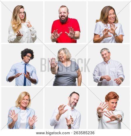 Collage of group of young, middle age and senior people over isolated background disgusted expression, displeased and fearful doing disgust face because aversion reaction. With hands raised. Annoying