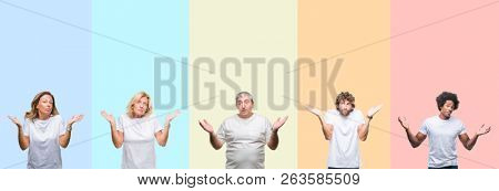 Collage of group of young and middle age people wearing white t-shirt over color isolated background clueless and confused expression with arms and hands raised. Doubt concept.