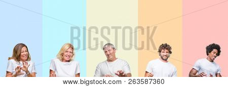 Collage of group of young and middle age people wearing white t-shirt over color isolated background disgusted expression, displeased and fearful doing disgust face because aversion reaction.