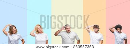 Collage of group of young and middle age people wearing white t-shirt over color isolated background confuse and wonder about question. Uncertain with doubt, thinking with hand on head. Pensive