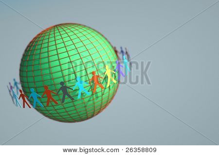 Globe and paper people dolls