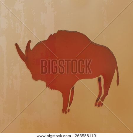 Vector Illustration - Red Clay Drawn Ox. Ancient Cave Drawings.