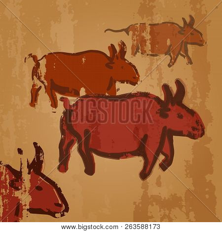 Vector Cave Drawing Illustration - Herd Of Cows. Primitive Arts.