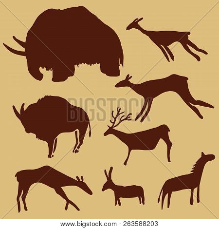 Vector Set Of Cave Painting Animals. Mammoth, Deers, Horse And Ox