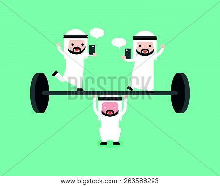 Arab Businessman Try To Weigh Lifting Barbell With Another Playing Cellphone On Barbell, Flat Design