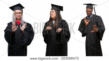 Collage of group of young student people wearing univerty graduated uniform over isolated background disgusted expression, displeased and fearful doing disgust face because aversion reaction.