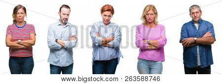 Collage of group of middle age and senior people over isolated background skeptic and nervous, disapproving expression on face with crossed arms. Negative person. poster