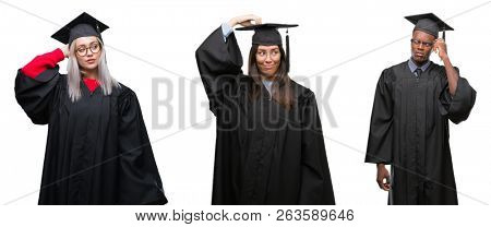Collage of group of young student people wearing univerty graduated uniform over isolated background confuse and wonder about question. Uncertain with doubt, thinking with hand on head. Pensive