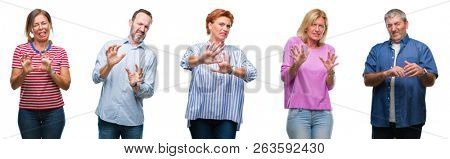 Collage of group of middle age and senior people over isolated background disgusted expression, displeased and fearful doing disgust face because aversion reaction. With hands raised. Annoying