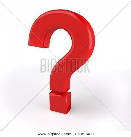 Red Question 3d symbol on white poster