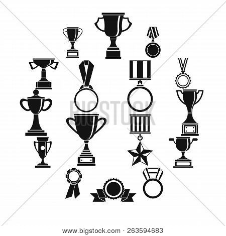 Trophy Icons Set. Simple Illustration Of 16 Trophy Icons For Web