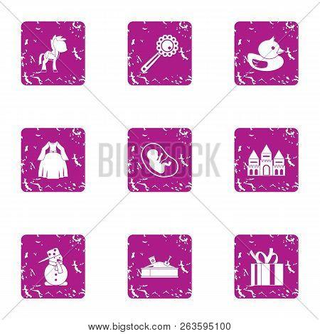 Children Beginning Icons Set. Grunge Set Of 9 Children Beginning Icons For Web Isolated On White Bac