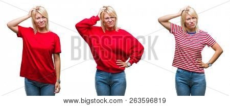Collage of beautiful blonde woman wearing casual red over isolated background confuse and wonder about question. Uncertain with doubt, thinking with hand on head. Pensive concept.