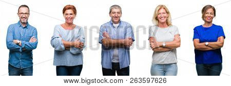 poster of Collage of group of middle age and senior people over isolated background happy face smiling with crossed arms looking at the camera. Positive person.