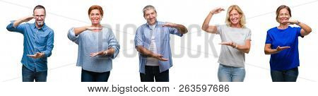 Collage of group of middle age and senior people over isolated background gesturing with hands showing big and large size sign, measure symbol. Smiling looking at the camera. Measuring concept.