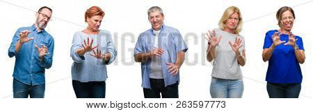 Collage of group of middle age and senior people over isolated background disgusted expression, displeased and fearful doing disgust face because aversion reaction. With hands raised. Annoying concept
