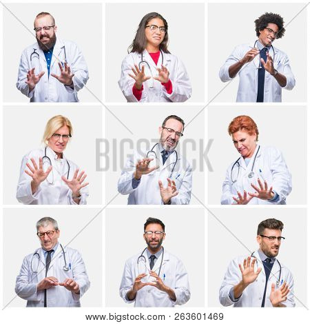Collage of group of doctor people wearing stethoscope over isolated background disgusted expression, displeased and fearful doing disgust face because aversion reaction. With hands raised. Annoying