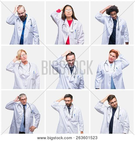 Collage of group of doctor people wearing stethoscope over isolated background confuse and wonder about question. Uncertain with doubt, thinking with hand on head. Pensive concept.