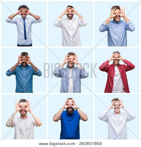 Collage of group of business and casual men over isolated background doing ok gesture like binoculars sticking tongue out, eyes looking through fingers. Crazy expression.
