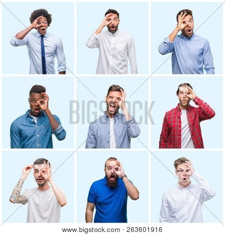 Collage of group of business and casual men over isolated background doing ok gesture shocked with surprised face, eye looking through fingers. Unbelieving expression.