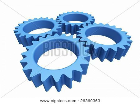 Blue abstract plastic gears