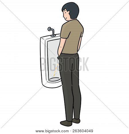Vector Of Man Peeing Hand Drawn Cartoon