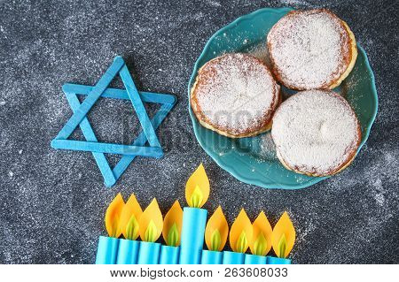 Jewish Holiday Hanukkah And Its Attributes, Menorah, Donuts, Star Of David. Hanukkah Menorah. Hanukk