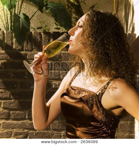 Glamour Girl Is Drinking Champagne