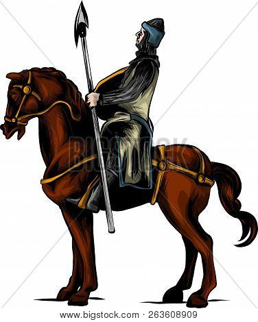 Vector Clip Art Illustration Of An Armored Knight On A Scary Black Horse With Red Eyes Charging Or J