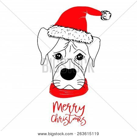 Hand Drawn Monochrome Vector Illustration With A Cute Dog Celebrating A Merry Christmas - Isolated O