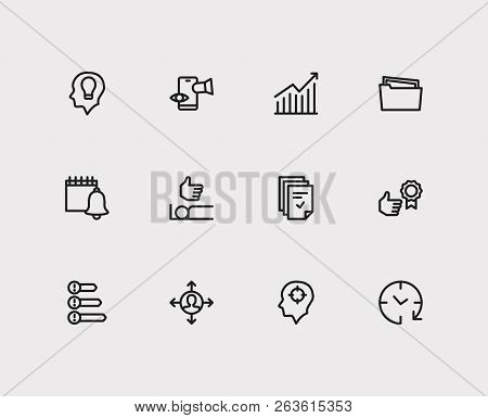 Task Icons Set. Reward Yourself And Task Icons With Group Tasks, Distractions And Efficiency. Set Of