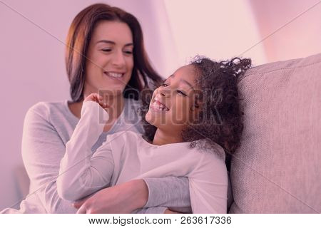 Joyful Positive Girl Spending Time With Her Mother