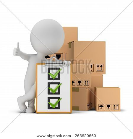 3d Small Person With A Thumb Up Next To The Checklist And Cardboard Boxes. 3d Image. White Backgroun