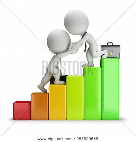 3d Small People - Business Partner Helps Another Partner To Climb The Levels. 3d Image. White Backgr