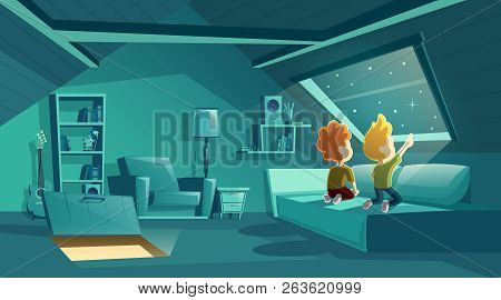 Vector Attic Interior At Night With Two Kids Watching For Stars, Cartoon Room With Furniture, Sofa W