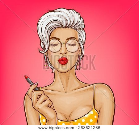 Vector Sexy Girl With Attractive Lips In Yellow Dotted Shirt Holds Red Lipstick. Ash Blonde Woman In