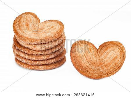 Sweet Elephant Ears Shape Cookies. Bakery Products Isolated On White