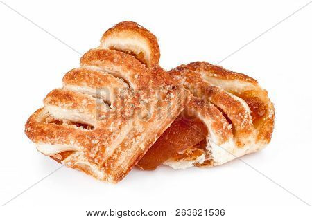 Sweet Puff Pastry With Jam Isolated On White