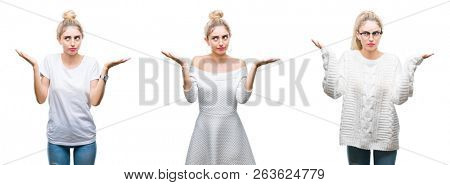 Collage of young beautiful blonde woman over white isolated background clueless and confused expression with arms and hands raised. Doubt concept.