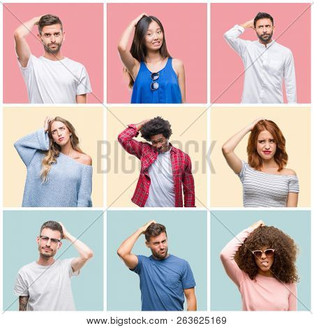 Collage of group of young people woman and men over colorful isolated background confuse and wonder about question. Uncertain with doubt, thinking with hand on head. Pensive concept.