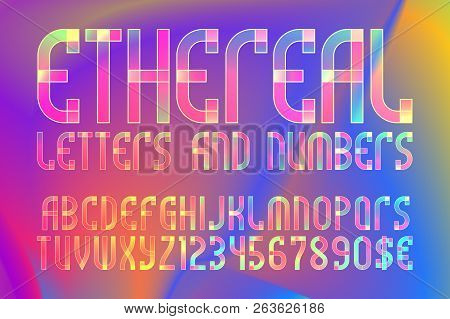 Ethereal Letters And Numbers With Currency Symbols. Colorful Translucent Font On Iridescent Backgrou