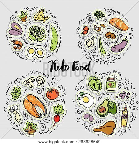 Keto Food, Ketogenic Healthy Food Vector Sketch Illustration Concept. Keto Sticker Illustration - Fo