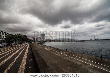 Ponta Delgada, Portugal - July, 2018: City Gates At The Historical Center Of Ponta Delgada, The Capi
