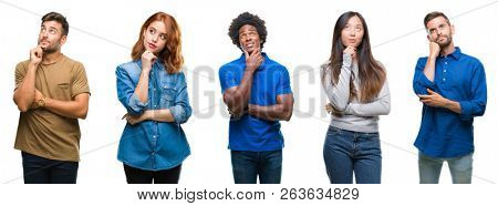 Composition of african american, hispanic and chinese group of people over isolated white background with hand on chin thinking about question, pensive expression. Smiling with thoughtful face. Doubt