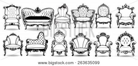 Baroque Armchair And Sofa Set. Vector French Luxury Rich Intricate Structure. Victorian Royal Style