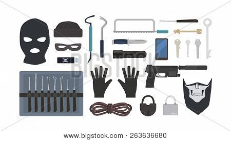 Collection Of Tools And Equipment For Theft, Robbery, Burglary, Housebreaking - Lock Picks, Padlocks