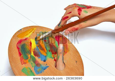 woman with painting brush and pallet, female artist poster