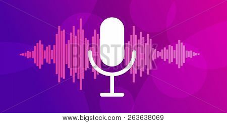 Concept Of Mobile Application Voice Recognition. Sound Wave With Imitation Of Voice And Microphone I