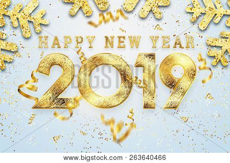 Creative Background, 2019 Happy New Year. Gold Numbers Design Of Greeting Card Of. Gold Shining Patt